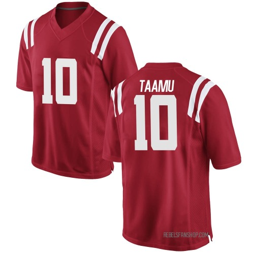 Men's Nike Jordan Taamu Ole Miss Rebels Game Red Football College Jersey
