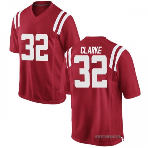 Men's Nike Josh Clarke Ole Miss Rebels Game Red Football College Jersey