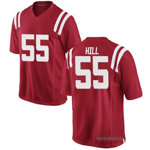 Men's Nike KD Hill Ole Miss Rebels Game Red Football College Jersey