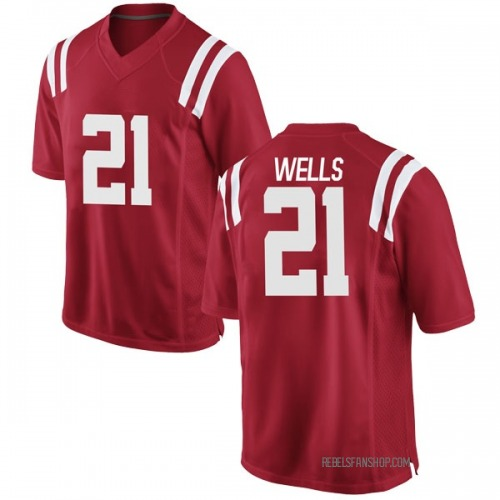 Men's Nike Keshun Wells Ole Miss Rebels Game Red Football College Jersey