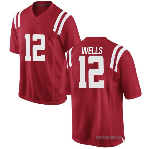 Men's Nike Keshun Wells Ole Miss Rebels Game Red KeShun Wells Football College Jersey