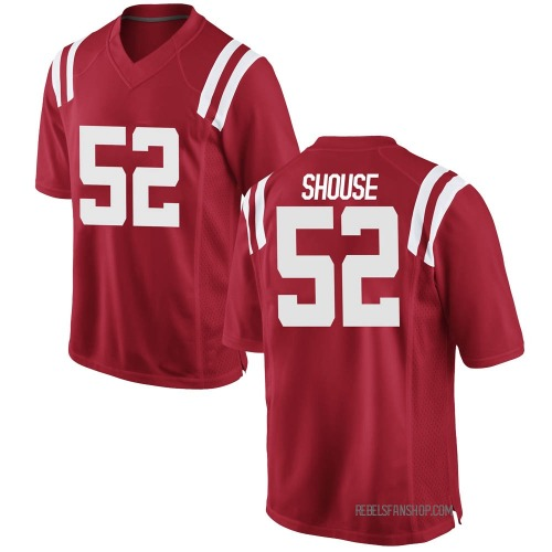 Men's Nike Luke Shouse Ole Miss Rebels Game Red Football College Jersey