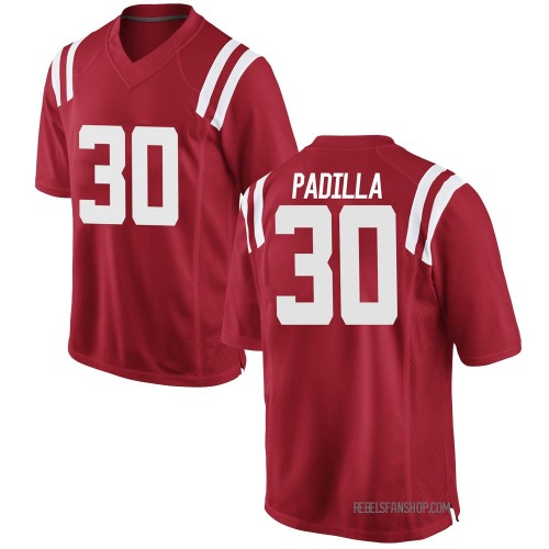 Men's Nike Mario Padilla Ole Miss Rebels Game Red Football College Jersey