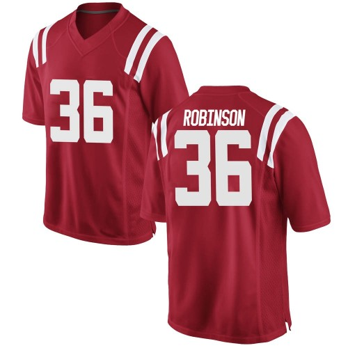 Men's Nike Mark Robinson Ole Miss Rebels Game Red Football College Jersey
