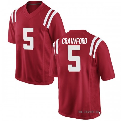 Men's Nike Markel Crawford Ole Miss Rebels Game Red Football College Jersey