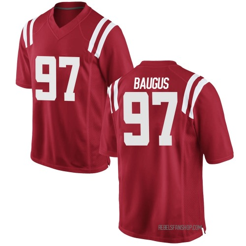 Men's Nike Michael Baugus Ole Miss Rebels Game Red Football College Jersey