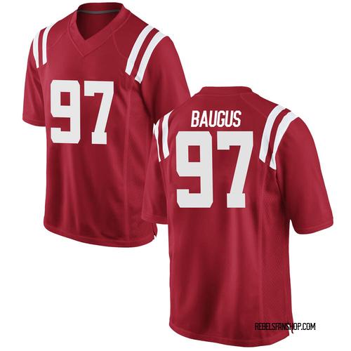 Men's Nike Michael Baugus Ole Miss Rebels Replica Red Football College Jersey