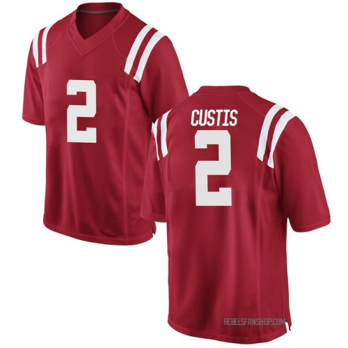 Men's Nike Montrell Custis Ole Miss Rebels Game Red Football College Jersey