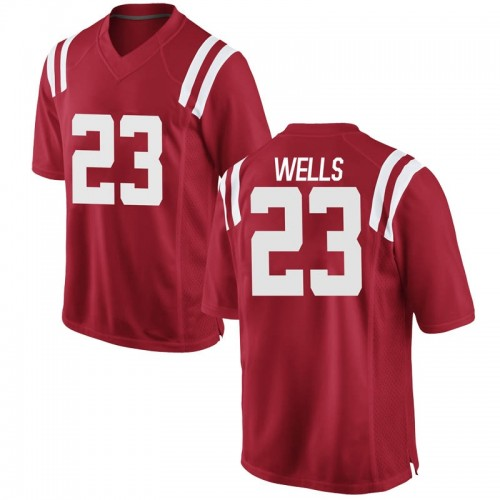 Men's Nike Nevin Wells Ole Miss Rebels Game Red Football College Jersey