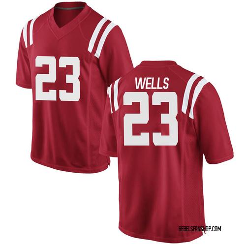 Men's Nike Nevin Wells Ole Miss Rebels Replica Red Football College Jersey