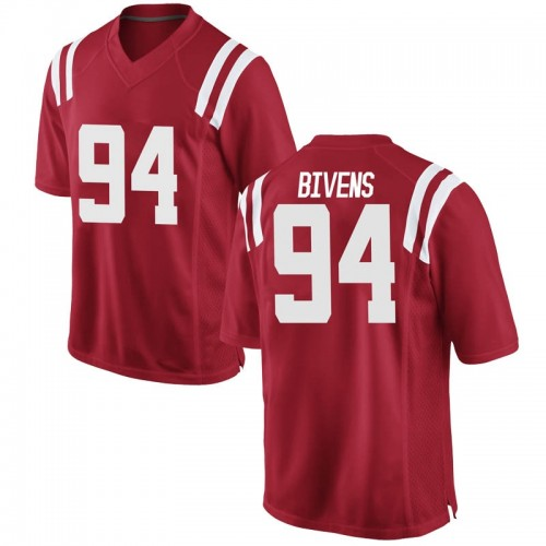 Men's Nike Quentin Bivens Ole Miss Rebels Game Red Football College Jersey