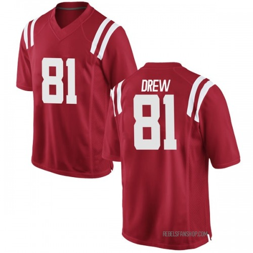 Men's Nike Ryan Drew Ole Miss Rebels Game Red Football College Jersey
