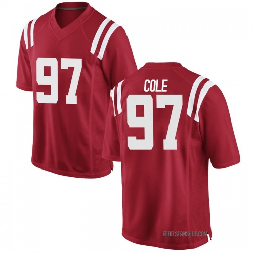Men's Nike Spencer Cole Ole Miss Rebels Game Red Football College Jersey