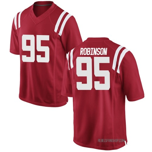 Men's Nike Tavius Robinson Ole Miss Rebels Game Red Football College Jersey