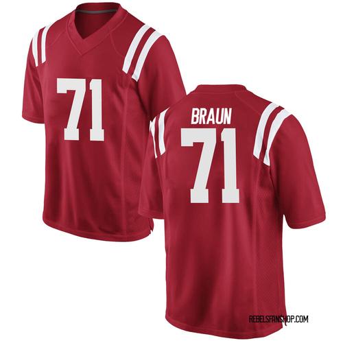 Men's Nike Tobias Braun Ole Miss Rebels Game Red Football College Jersey