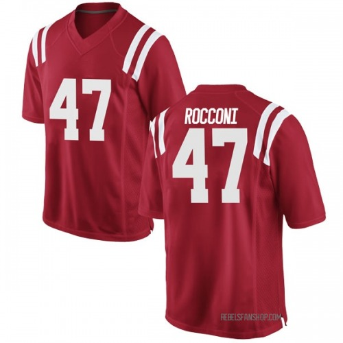 Men's Nike Ty Rocconi Ole Miss Rebels Game Red Football College Jersey
