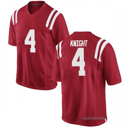 Men's Nike Tylan Knight Ole Miss Rebels Game Red Football College Jersey