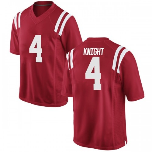 Men's Nike Tylan Knight Ole Miss Rebels Replica Red Football College Jersey
