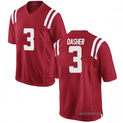 Men's Nike Vernon Dasher Ole Miss Rebels Game Red Football College Jersey