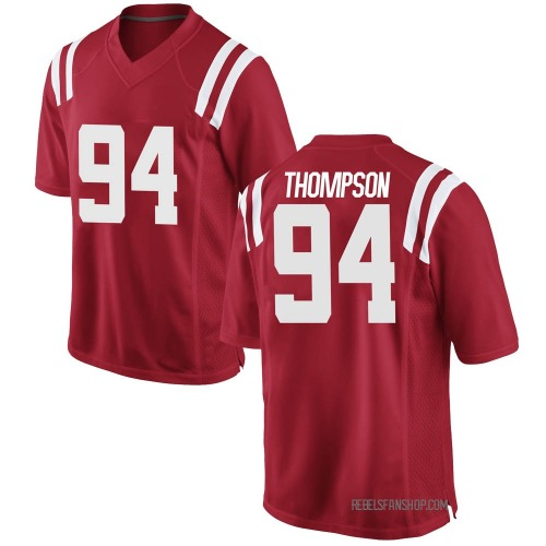 Men's Nike Walker Thompson Ole Miss Rebels Game Red Football College Jersey
