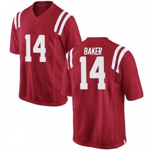 Men's Nike Zikerrion Baker Ole Miss Rebels Game Red Football College Jersey