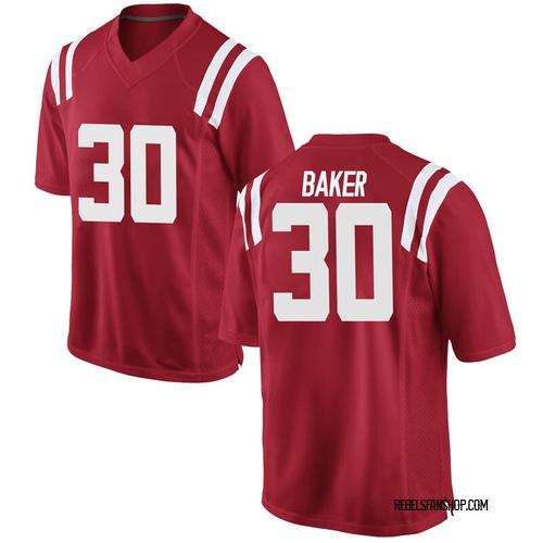 Men's Nike Zikerrion Baker Ole Miss Rebels Game Red Football College Jersey