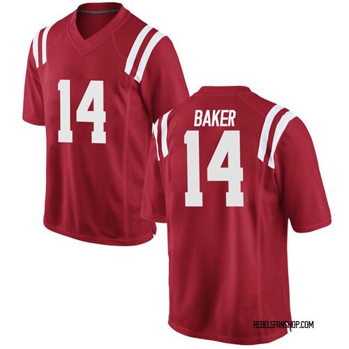 Men's Nike Zikerrion Baker Ole Miss Rebels Replica Red Football College Jersey