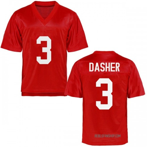 Men's Vernon Dasher Ole Miss Rebels Game Cardinal Football College Jersey