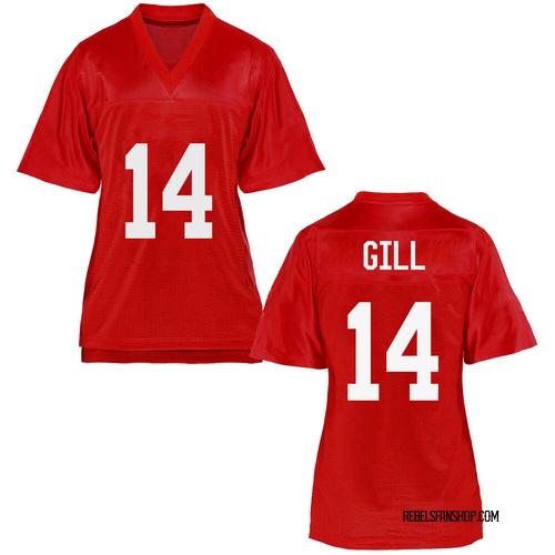 Women's Daylen Gill Ole Miss Rebels Replica Cardinal Football College Jersey