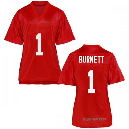 Women's Deandre Burnett Ole Miss Rebels Replica Cardinal Football College Jersey