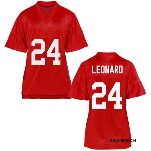Women's Deane Leonard Ole Miss Rebels Replica Cardinal Football College Jersey
