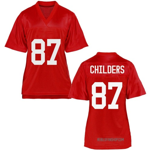 Women's Garrett Childers Ole Miss Rebels Game Cardinal Football College Jersey