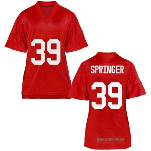 Women's Jacob Springer Ole Miss Rebels Game Cardinal Football College Jersey