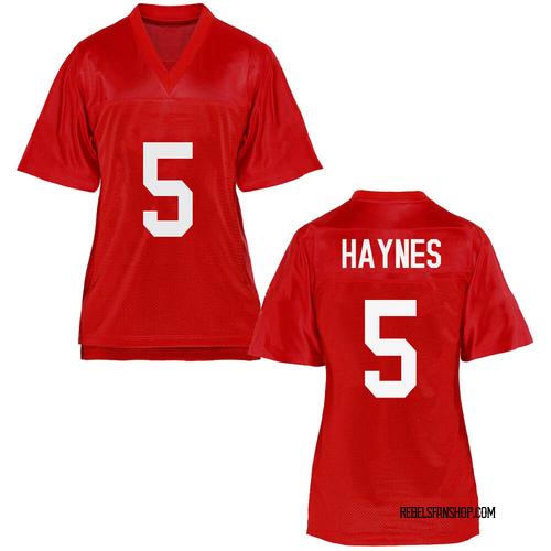 Women's Jon Haynes Ole Miss Rebels Replica Cardinal Football College Jersey