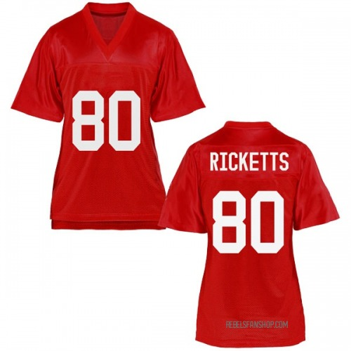 Women's Josh Ricketts Ole Miss Rebels Replica Cardinal Football College Jersey