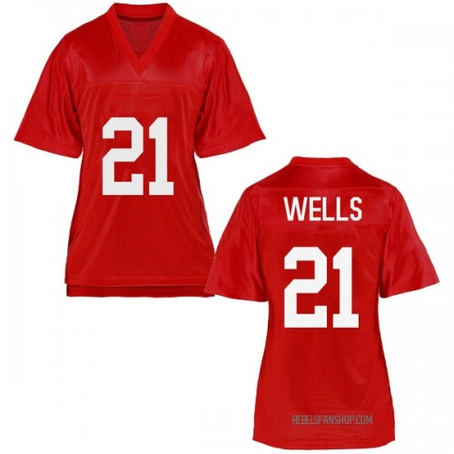 Women's Keshun Wells Ole Miss Rebels Replica Cardinal Football College Jersey