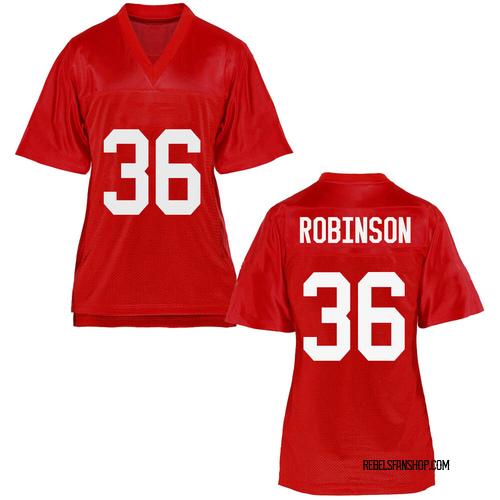 Women's Mark Robinson Ole Miss Rebels Replica Cardinal Football College Jersey