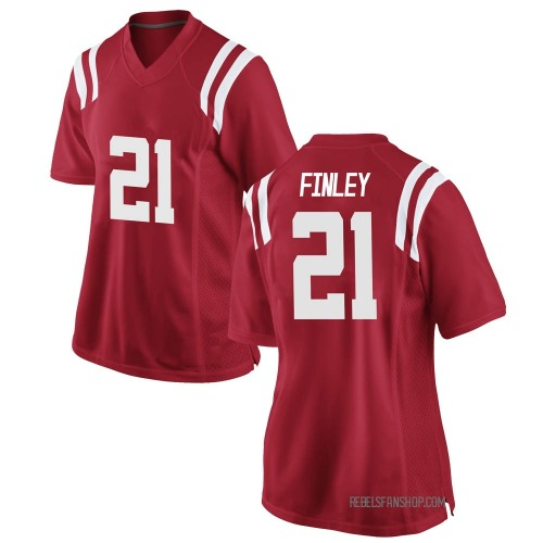 Women's Nike A.J. Finley Ole Miss Rebels Replica Red Football College Jersey