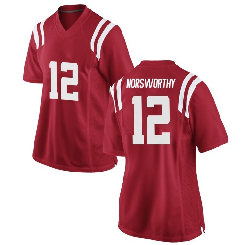 Women's Nike Adam Norsworthy Ole Miss Rebels Replica Red Football College Jersey