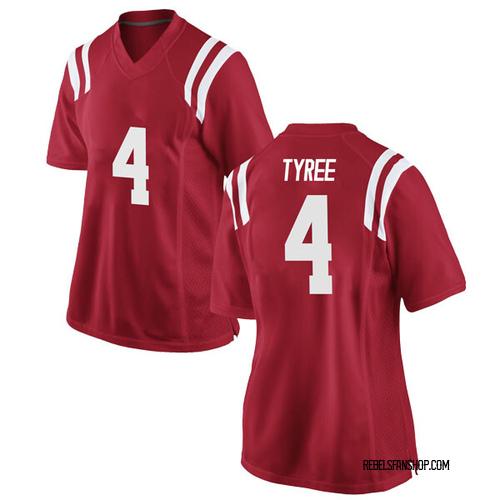 Women's Nike Breein Tyree Ole Miss Rebels Replica Red Football College Jersey