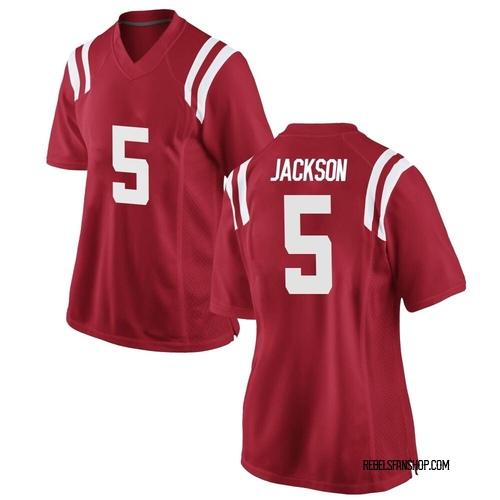 Women's Nike Dannis Jackson Ole Miss Rebels Replica Red Football College Jersey