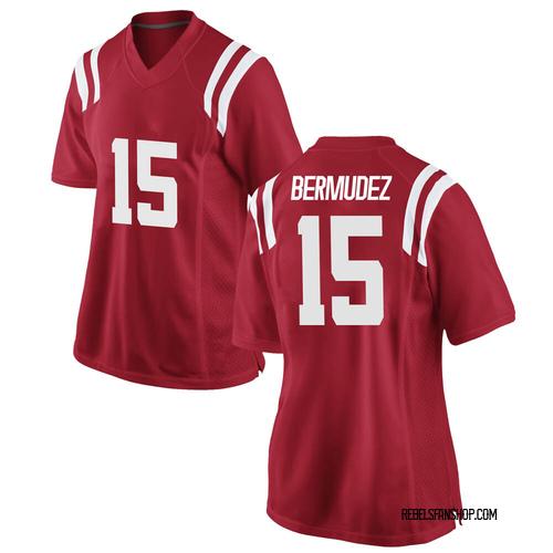 Women's Nike Derek Bermudez Ole Miss Rebels Game Red Football College Jersey