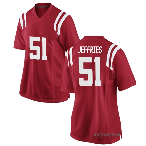 Women's Nike Eric Jeffries Ole Miss Rebels Replica Red Football College Jersey