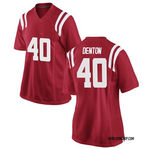 Women's Nike Jalen Denton Ole Miss Rebels Replica Red Football College Jersey