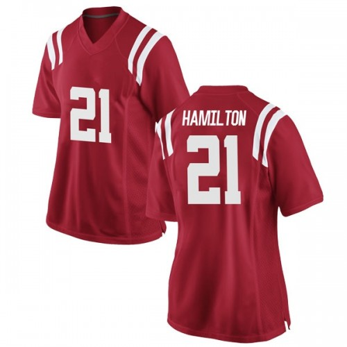 Women's Nike Javien Hamilton Ole Miss Rebels Game Red Football College Jersey