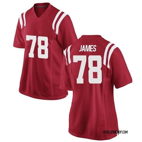 Women's Nike Jeremy James Ole Miss Rebels Replica Red Football College Jersey