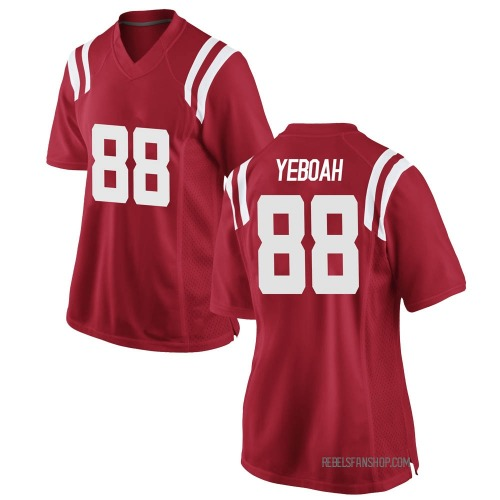 Women's Nike Kenny Yeboah Ole Miss Rebels Game Red Football College Jersey