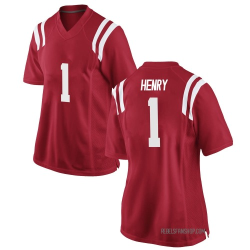 Women's Nike Lakia Henry Ole Miss Rebels Game Red Football College Jersey