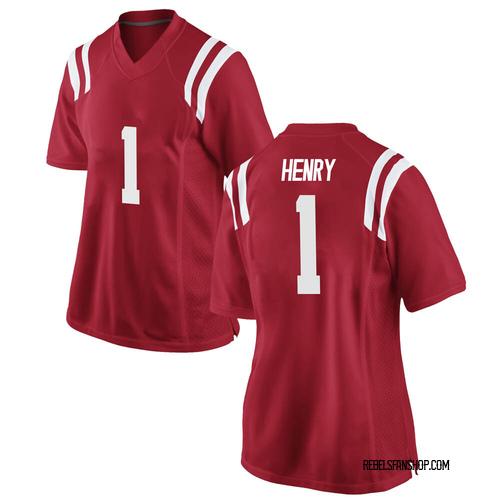 Women's Nike Lakia Henry Ole Miss Rebels Replica Red Football College Jersey