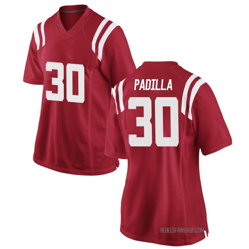 Women's Nike Mario Padilla Ole Miss Rebels Game Red Football College Jersey